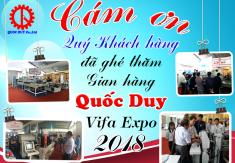 THƯ CẢM ƠN KHÁCH HÀNG THAM DỰ TRIỂN LÃM VIFA EXPO 2018