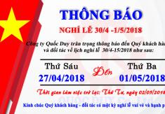 Thông báo nghỉ lễ Giải Phóng Miền Nam và Quốc Tế Lao Động 2018
